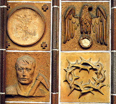 Terracota tiles from the church.  Note that the swastika under the eagle has been chiseled out.